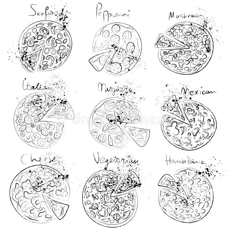 Satz der Pizzascheibe - italienisch, mexikanisch, Margarita, Käse, Pepperonis stock abbildung