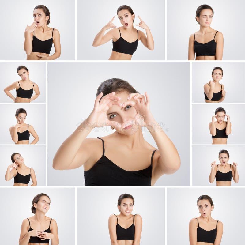 Satz der Porträtfrau mit verschiedenen Gefühlen und Gesten stockfotos