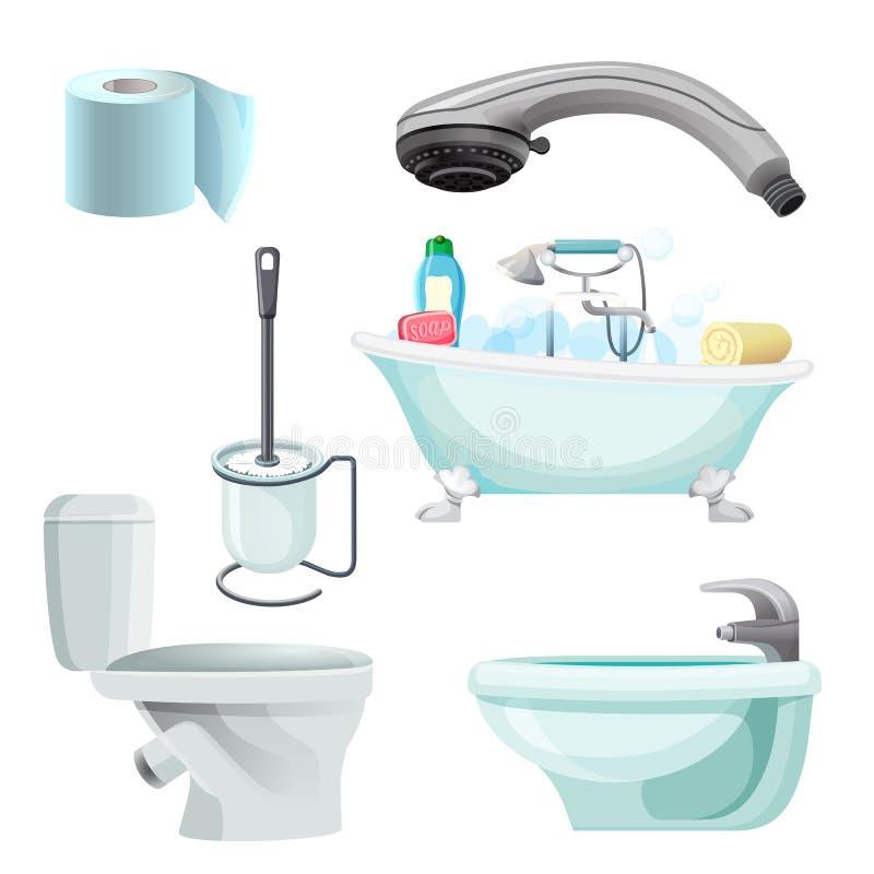 Satz der realistischen Vektorillustration der Badezimmerausrüstung Bidet, Toilette, Bad lizenzfreie abbildung