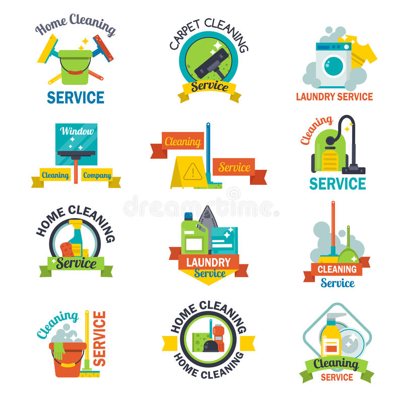 Satz der Reinigungsservice-Emblemaufkleberdesignausgangshaushaltssymbolarbeitsbürsten-Vektorillustration stock abbildung
