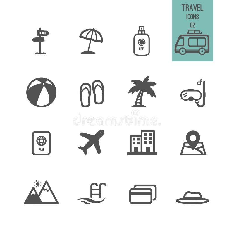 Satz der Reise-Ikone stockfotos
