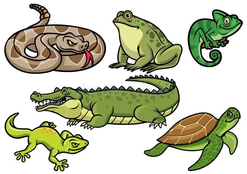 Satz der Reptilkarikaturillustration lizenzfreie abbildung