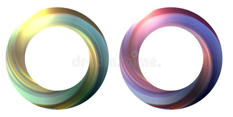 Satz der runden Fahne mit wirbelndem Mehrfarbenstrudel Der Gegenstand ist getrennt von dem Hintergrund stock abbildung