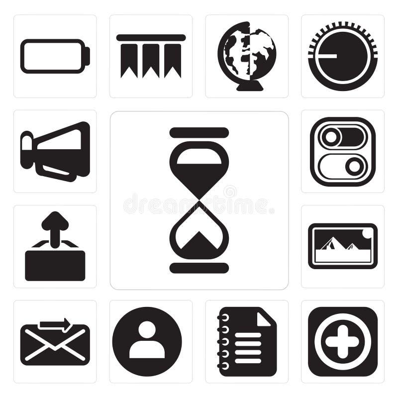 Satz der Sanduhr, fügen, Notizblock, Benutzer, senden, Fotos, Antriebskraft, Swit hinzu stock abbildung