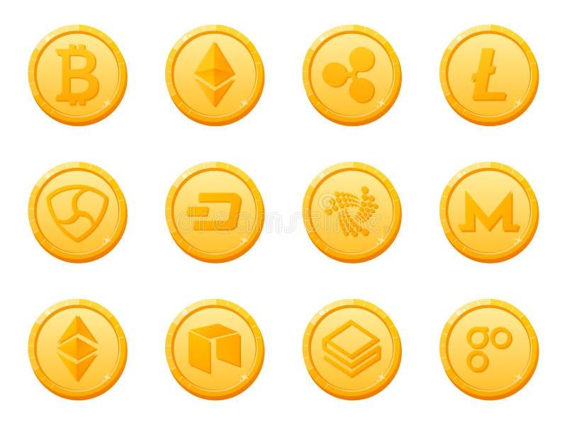 Satz der Schlüsselwährungsikone mit 12 Goldmünzen Oberste digitale elektronische Währung durch Marktkapitalisierung vektor abbildung