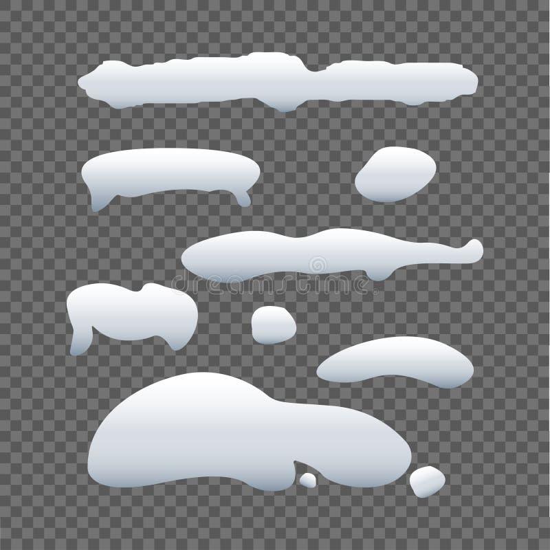 Satz der Schneekappe auf grauem Hintergrund Schneesammlung Eiskappe Zusammensetzung der Natur Auch im corel abgehobenen Betrag stock abbildung