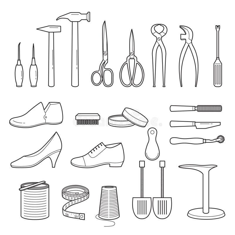 Satz der Schuh-Reparatur bearbeitet und beschuht Zubehör, Entwurf lizenzfreie abbildung