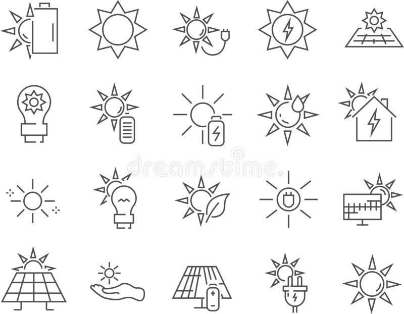 Satz der Solarenergielinie Vektorikonen stockfoto