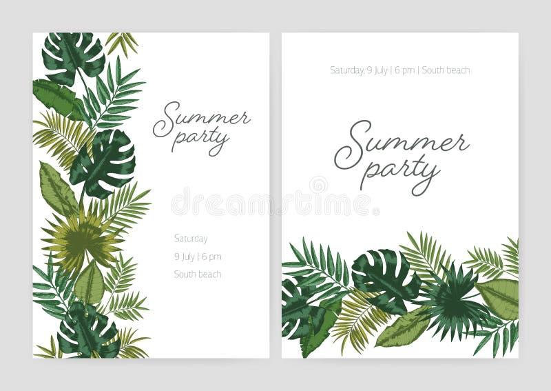 Satz der Sommerfesteinladung, Plakat, Fliegerschablonen mit den Grenzen gemacht vom grünen Laub von tropischen Anlagen und exotis stock abbildung