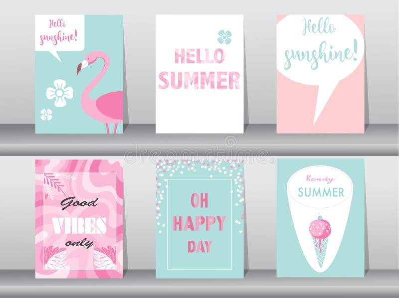 Satz der Sommerkarte auf Musterdesign, Plakat, Schablone, Gruß, Karten, Früchte, Polygon, Vektorillustrationen lizenzfreie abbildung