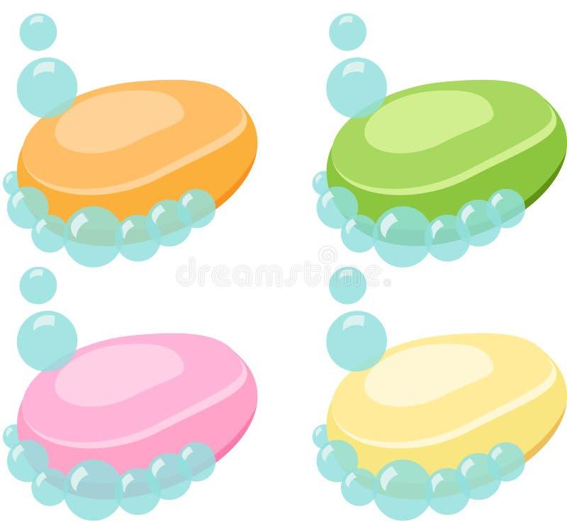 Satz der Stück Seife mit Blasen - Vektor-Illustration vektor abbildung