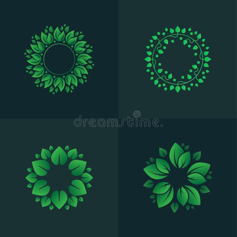 Satz der Steigung verlässt Kreise Kreisblumenverzierungen für Logo lizenzfreies stockfoto