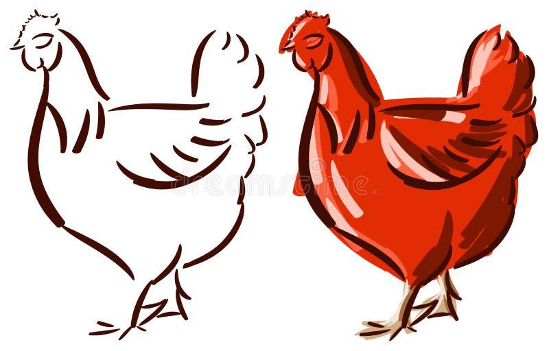 Satz der stilisierten Henne lokalisiert lizenzfreie abbildung