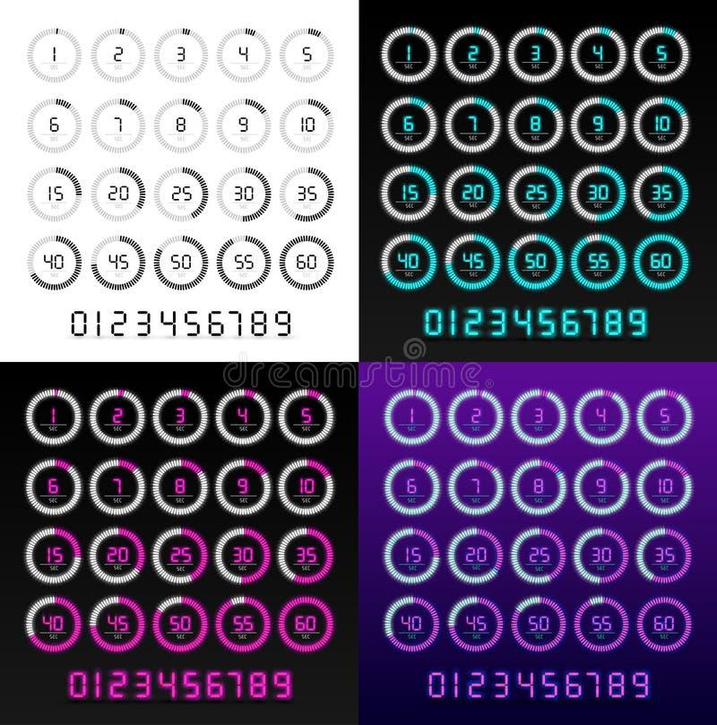 Satz der Stoppuhrikone das Blaue, Rot 5, 10, 15, 20, 25, 30, 35, 40, 45, 50, 55, 60 Sekunden, digitaler Timer Uhr und Armbanduhr, vektor abbildung
