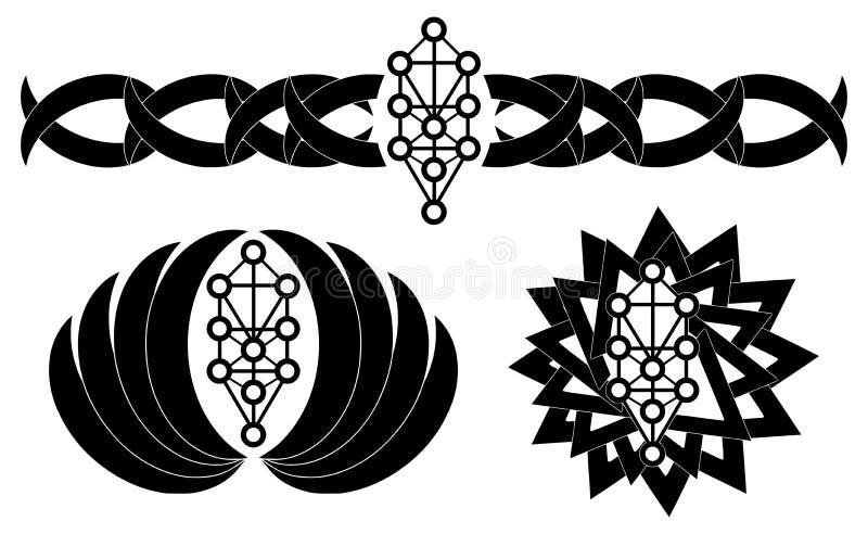Satz der Tätowierung mit Sephiroth-Baum im Schwarzen vektor abbildung