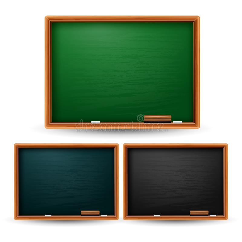 Satz der Tafelschule auf weißem Hintergrund stock abbildung