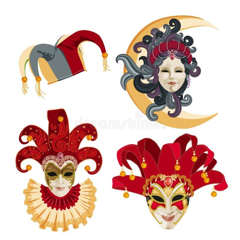 Satz der traditionellen Karnevalsmaske auf weißem Hintergrund mit Scheinen vektor abbildung