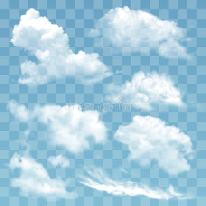 Satz der transparenten unterschiedlichen Wolkenvektorillustration stock abbildung