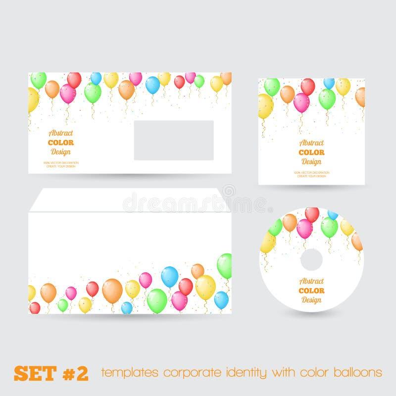 Satz der Unternehmensidentitä5 der Schablonen mit Farbe steigt im Ballon auf vektor abbildung