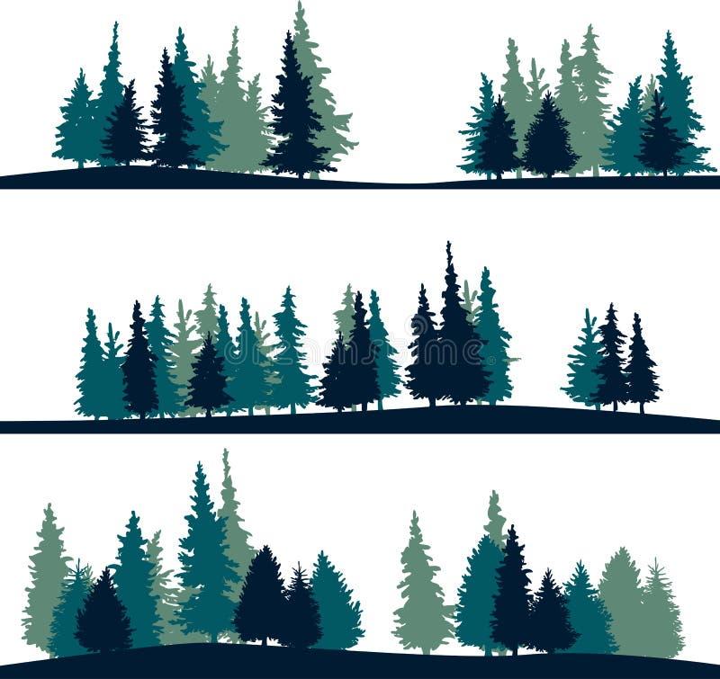 Satz der unterschiedlichen Landschaft mit Tannenbäumen stockbild