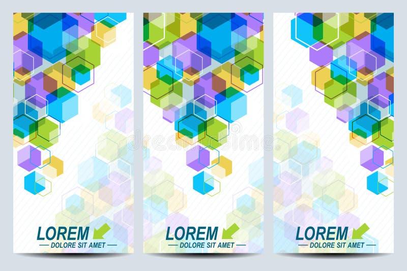 Satz der Vektorflieger Hintergrund mit bunten Hexagonen Modernes stilvolles Design lizenzfreie abbildung