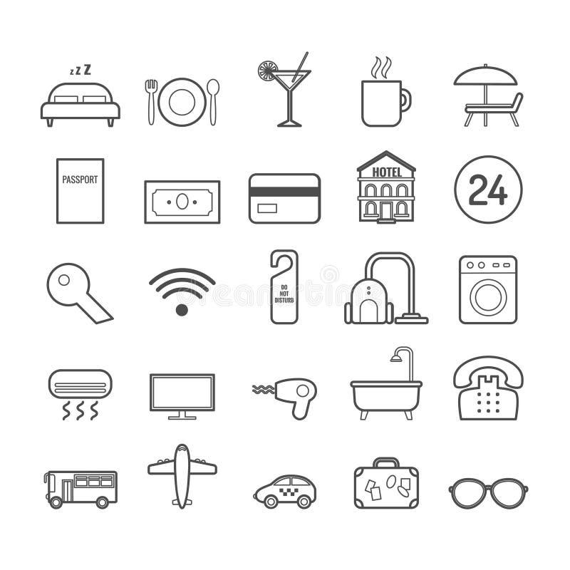 Satz der Vektorlinie Hotelikonen für Webdesign und Dekoration lizenzfreie abbildung