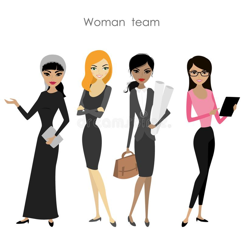 Satz der vier Geschäftsfrau, Karikaturfrauteam stock abbildung