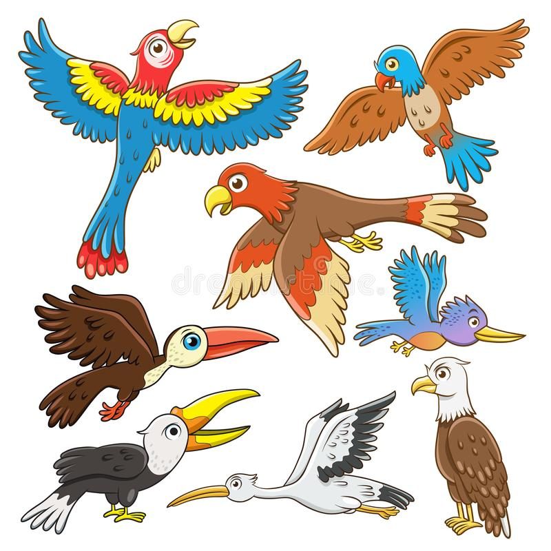 Satz der Vogelkarikatur stock abbildung