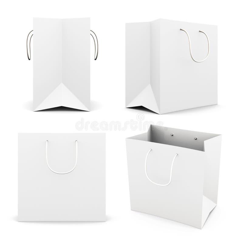 Satz der weißen Papiertüte auf weißem Hintergrund 3d übertragen i lizenzfreie abbildung