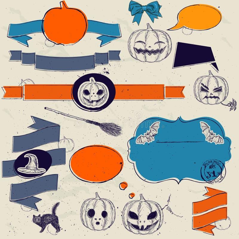 Satz der Weinlese geruhen Elemente über Halloween. lizenzfreie abbildung