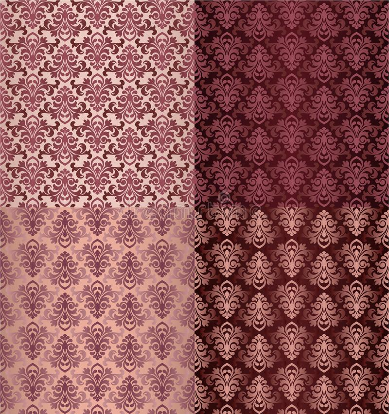 Satz der Weinlese verziert nahtlose Muster mit Blumen-Designen im Damaskus-Artrotweinhintergrund stock abbildung