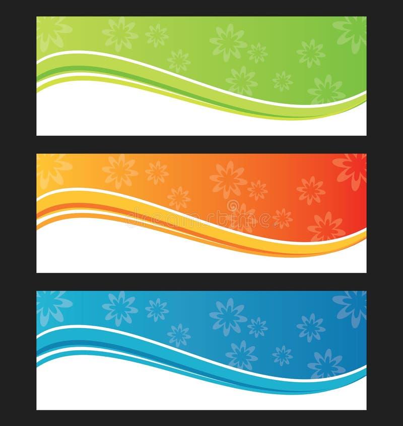 Satz der Wellenhintergrundfahne oder -titels vektor abbildung