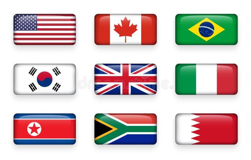Satz der Welt kennzeichnet ringsum Rechteckknöpfe USA kanada brasilien SEOUL - 30 Vereinigtes Königreich von Großbritannien Itali vektor abbildung