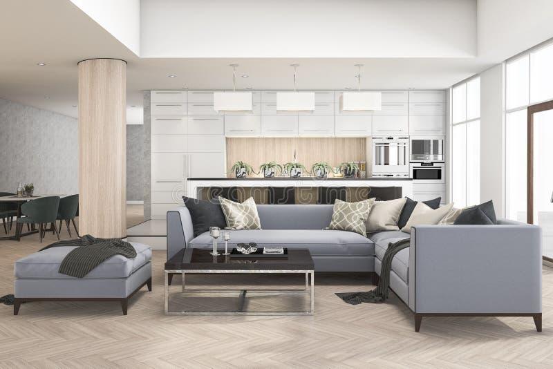 Küchenstange satz der wiedergabe 3d des sofas im wohnzimmer nahe küchenstange und