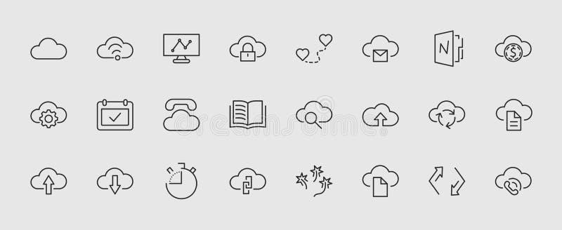 Satz der Wolkenvektorlinie Ikone Es enthält Symbole, um zu laden, herunterzuladen, zu verbinden und mehr Editable Bewegung Pixel  lizenzfreie abbildung