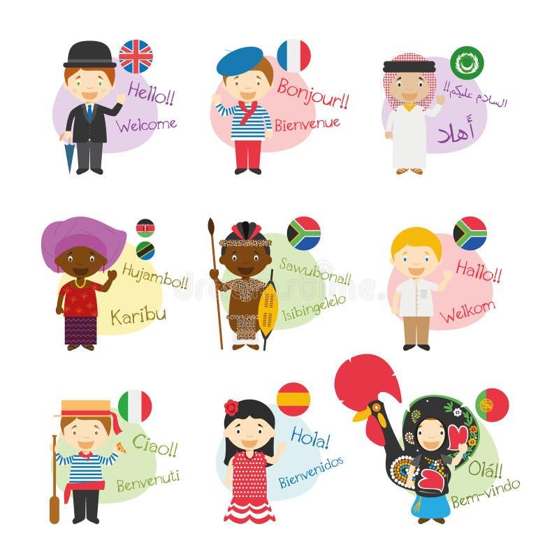 Satz der Zeichentrickfilm-Figur-Begrüßung und -willkommens in 9 Sprachen gesprochen in Afrika stock abbildung