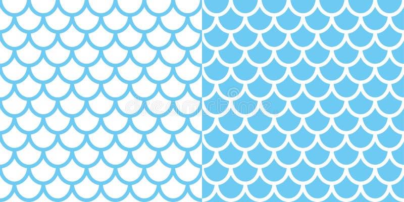 Satz der zwei Meerjungfraumuster Fischschuppehintergrund Blaue Beschaffenheit für Ihr Design stock abbildung