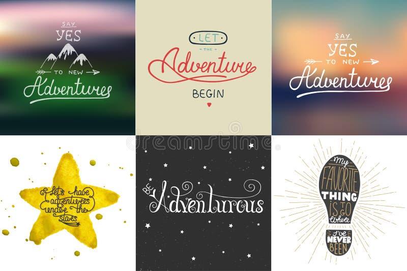 Satz des Abenteuer- und Reisevektors übergeben gezogene einzigartige Typografiegrußkarten, Dekoration, Schablone, Drucke, Fahnen  vektor abbildung
