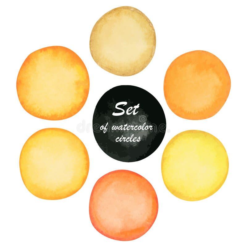 Satz des abstrakten gelben und orange Farbenaquarells kreist ein stock abbildung