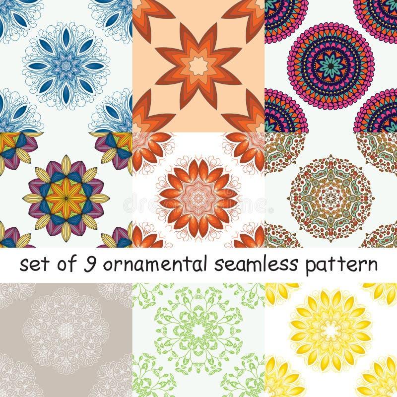 Satz des abstrakten nahtlosen Musters mit einem Kreismuster stock abbildung