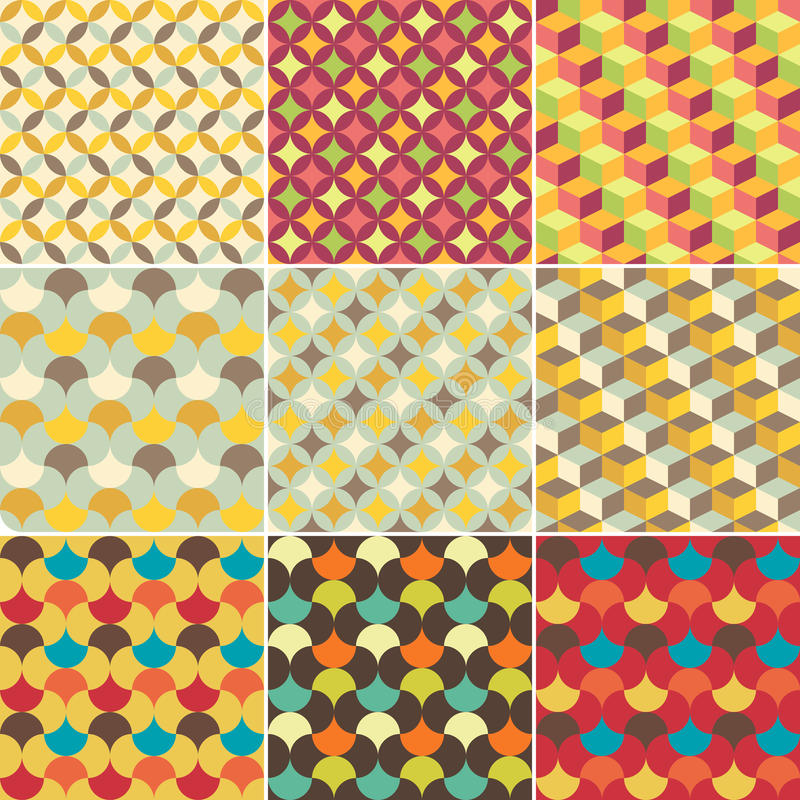 Satz des abstrakten Retro- geometrischen Musters lizenzfreie abbildung