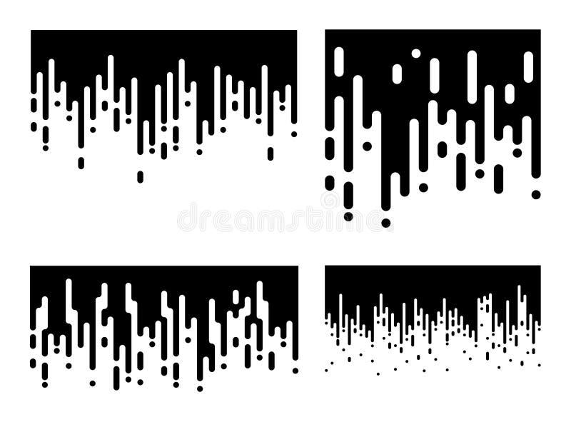 Satz des abstrakten Tapetenhalbtonmusters Schwarzweiss-Irregular gerundete Linien Hintergrund für modernes flaches Websitedesign  lizenzfreie abbildung