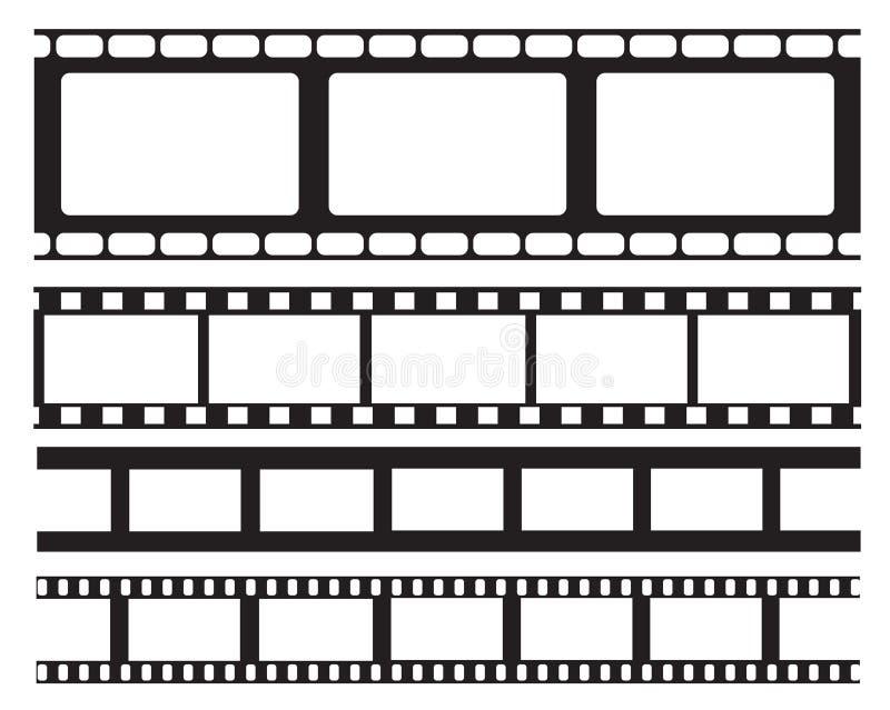 Satz des alten Retro- vntage Film-Streifenrahmens, Vektorillustration Hintergrundbeleuchtung mit blauen Strahlen Filmband Ebene l stock abbildung