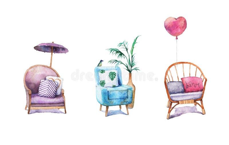 Satz des Aquarells malte schöne Weinleselehnsessel mit Kissen stock abbildung