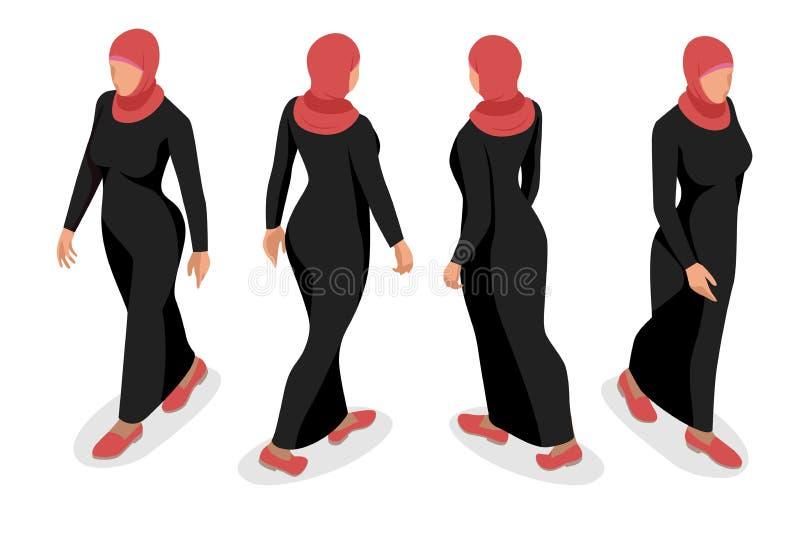 Satz des arabischen Frauencharakters des Geschäfts mit hijab stock abbildung