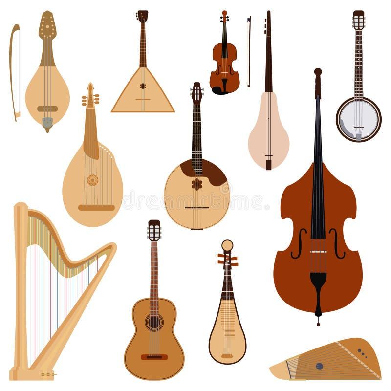 Satz des aufgereihten geträumten Orchesterkunst-Tonwerkzeugs der Musikinstrumente klassischen und der akustischen Symphonie reiht lizenzfreie abbildung
