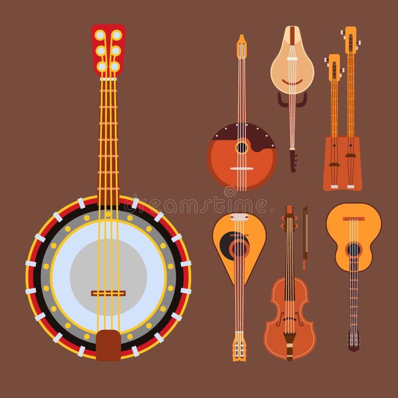 Satz des aufgereihten Orchesterkunst-Tonwerkzeugs der Musikinstrumente klassischen und der akustischen Symphonie reihte die hölze lizenzfreie abbildung