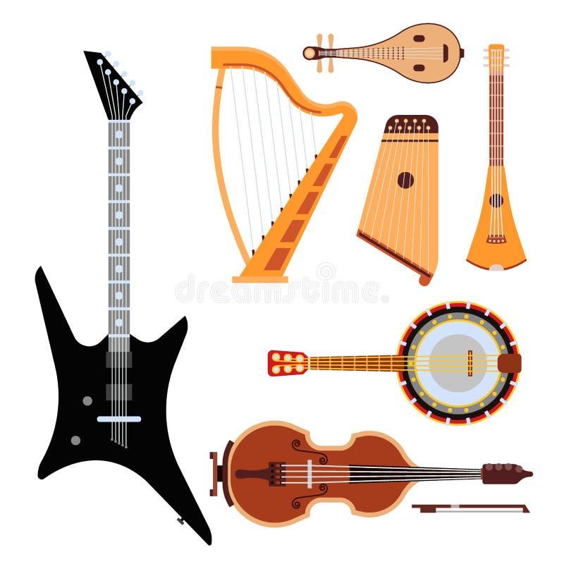 Satz des aufgereihten Orchesterkunst-Tonwerkzeugs der Musikinstrumente klassischen und der akustischen Symphonie reihte die hölze vektor abbildung