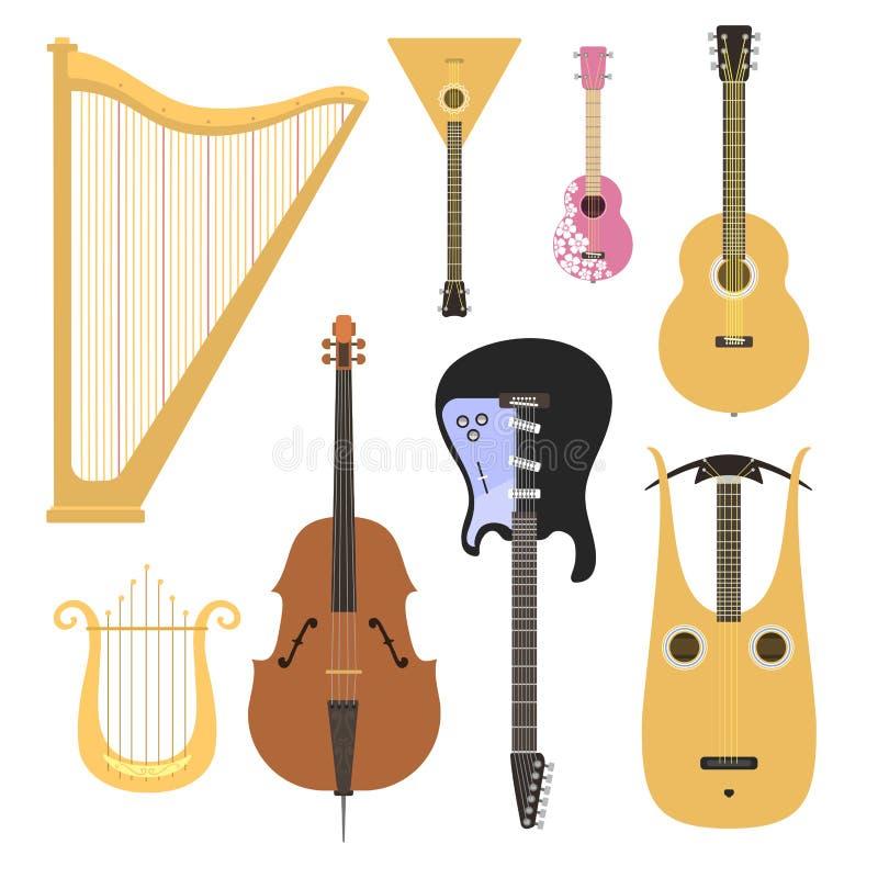 Satz des aufgereihten Orchesterkunst-Tonwerkzeugs der Musikinstrumente klassischen und der akustischen Symphonie reihte die hölze stock abbildung