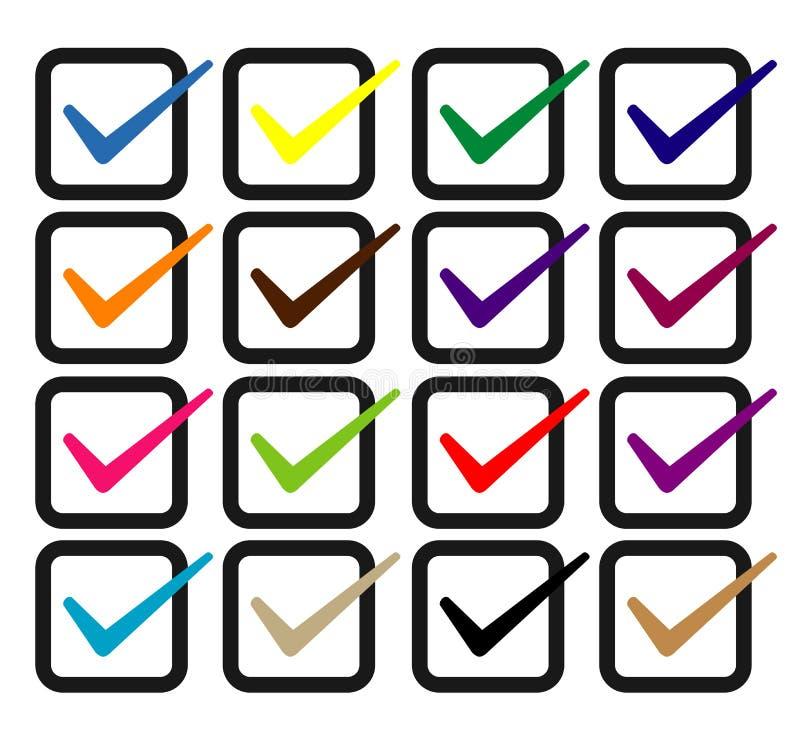 Satz des Auswahlkästchens Nehmen Sie, Checkbox oder Häkchen alle Farbe an lizenzfreie abbildung